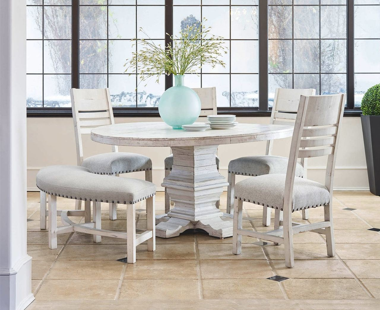 Condesa White Round Dining Table With Four Chairs By Elements Jaxco Furniture